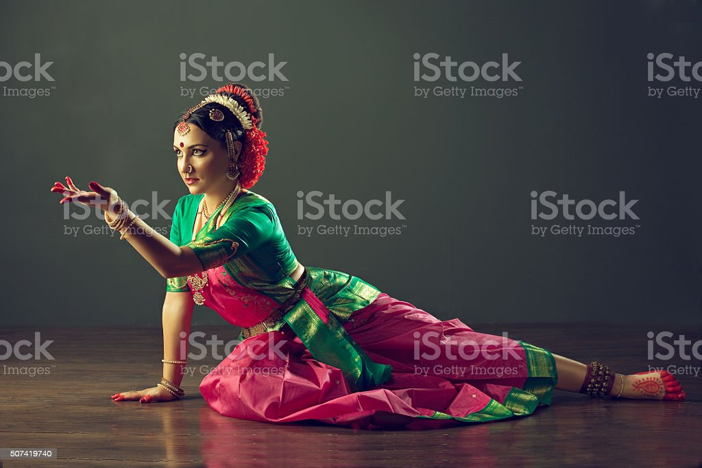 Girl dancing classical indin dance Kuchipudi. stock photo