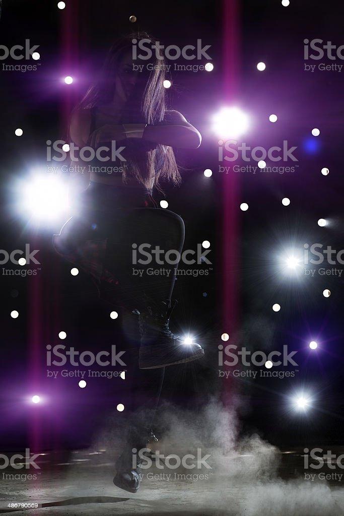 Girl dancing hip hop stock photo