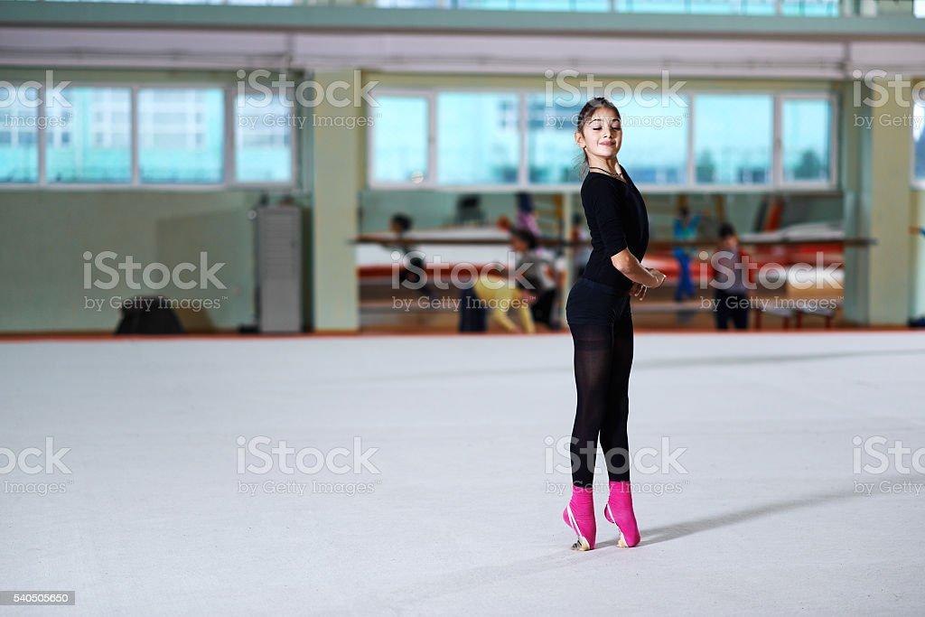 girl dancing on training  rhythmic gymnastics stock photo