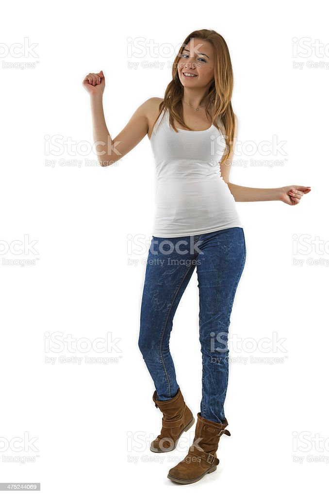 Girl dancing with arms raised royalty-free stock photo