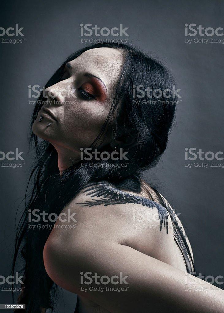 Girl dark gothic raven royalty-free stock photo