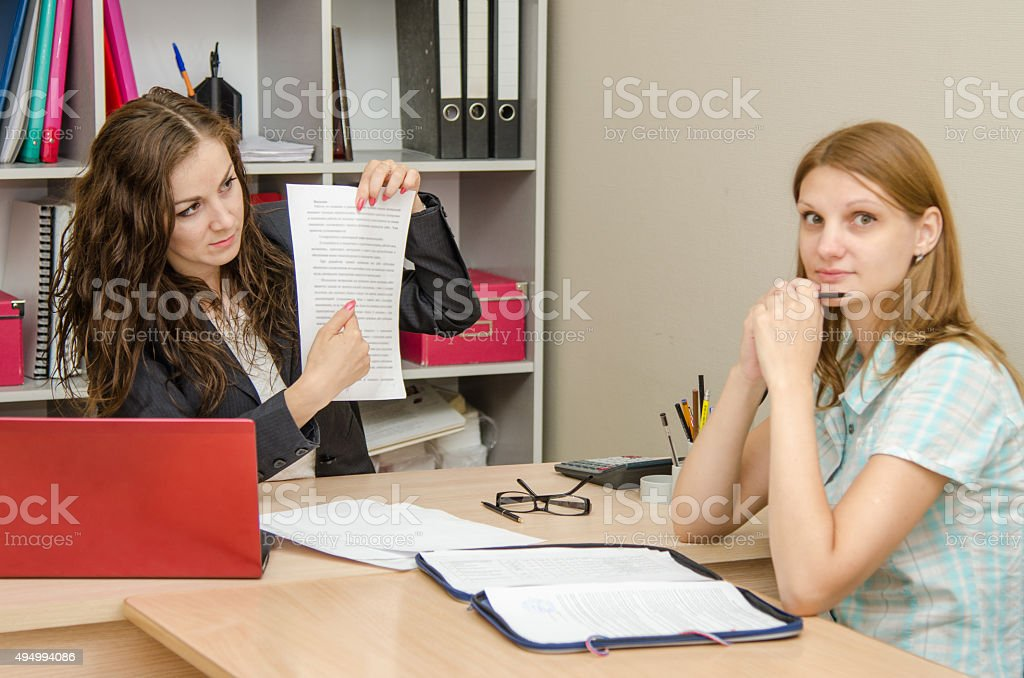 Girl disappointed abandonment of office specialist stock photo