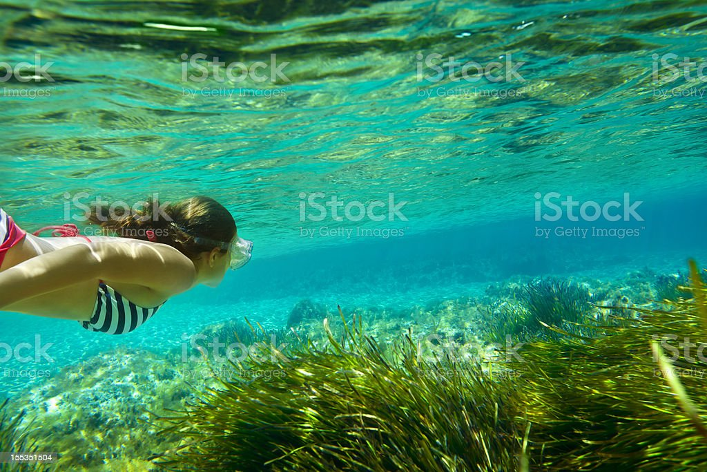 Girl diving underwater stock photo