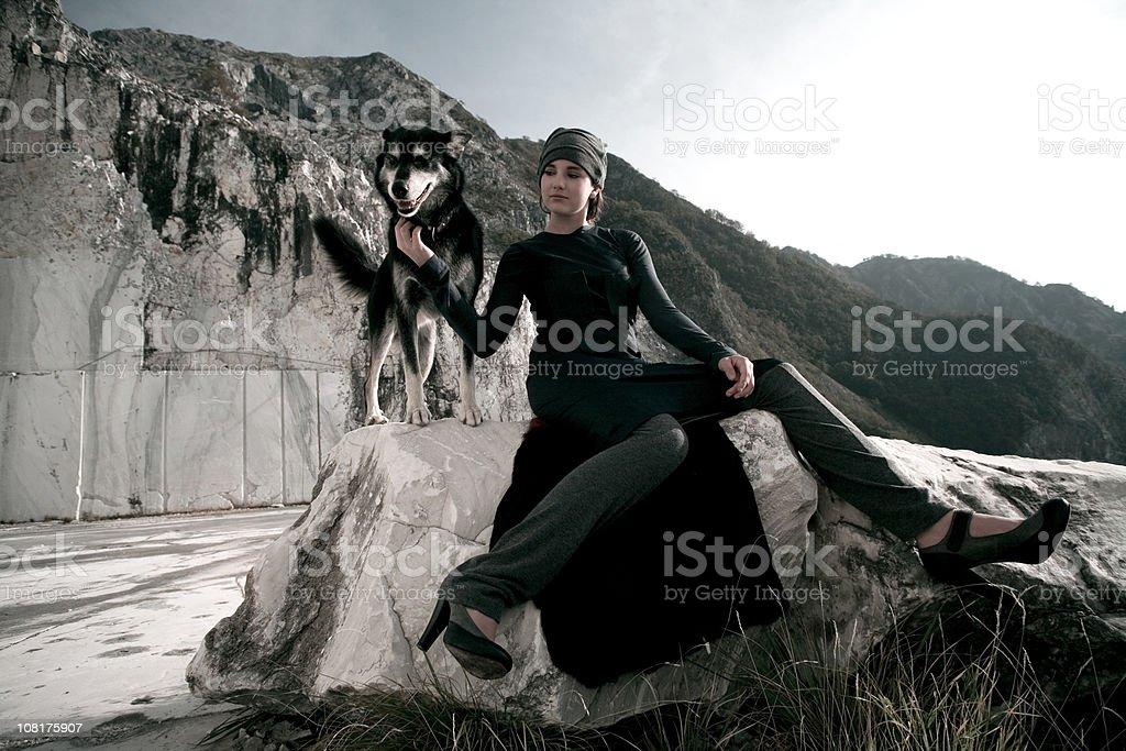 Girl & Dog... stock photo