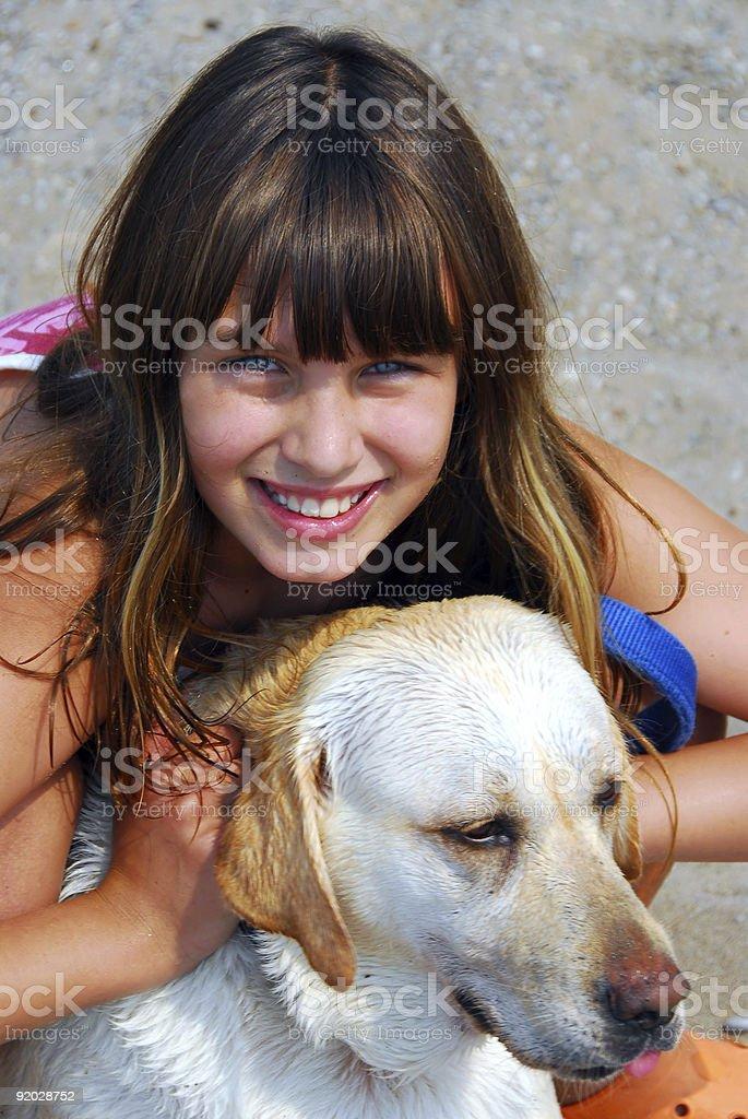 Girl dog portrait royalty-free stock photo
