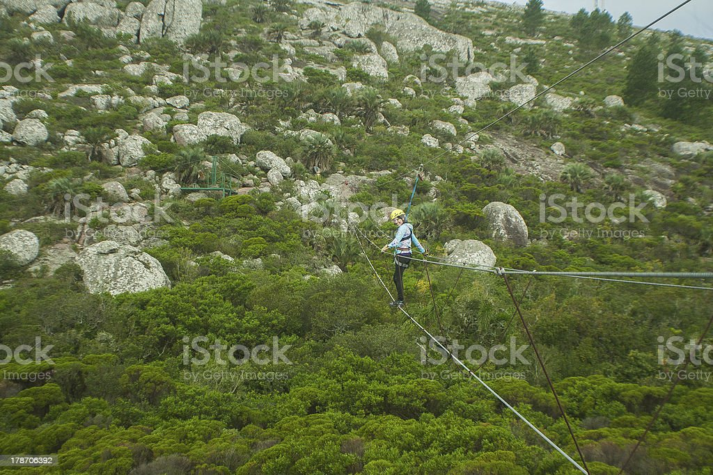 Girl doing Canopy in Pan de Azucar royalty-free stock photo