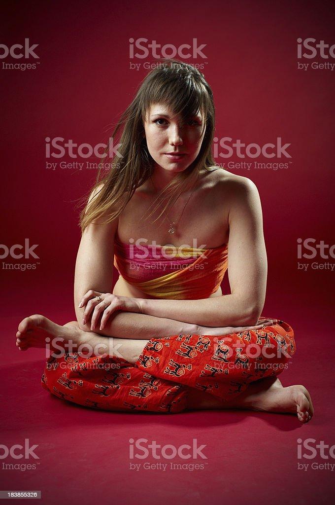 girl doing yoga stock photo