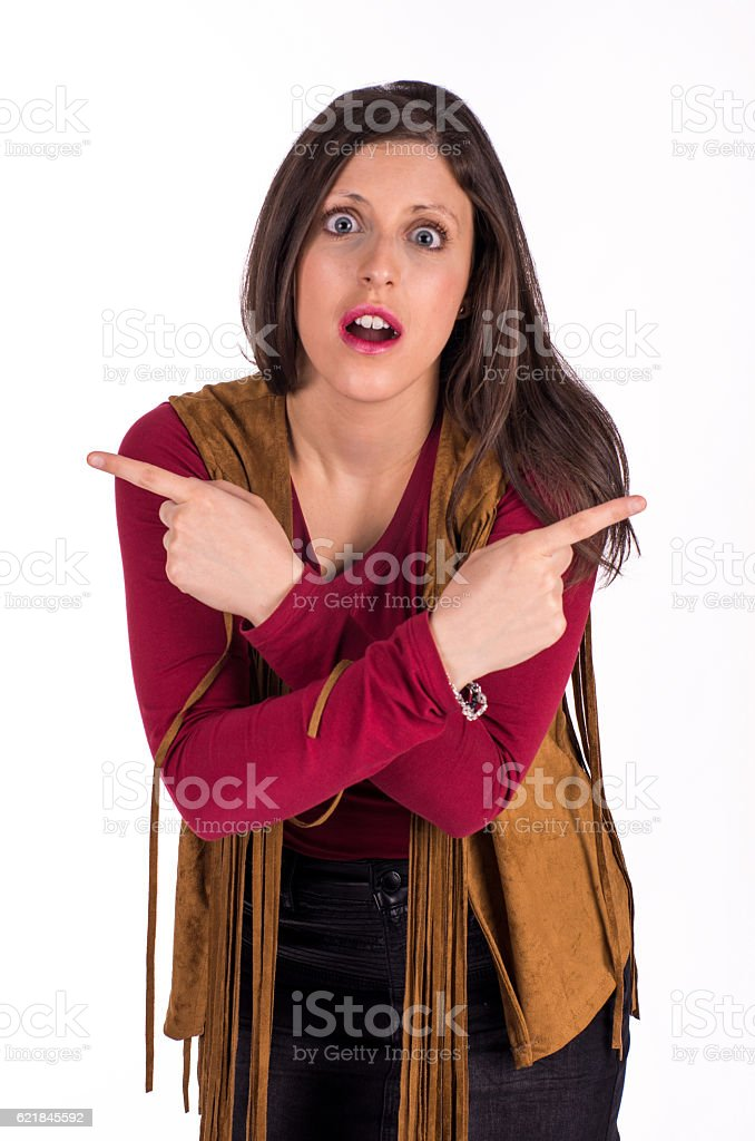 girl doubtful pointing left right stock photo