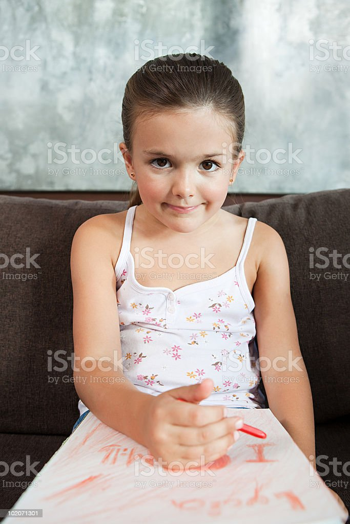 Girl drawing a picture royalty-free stock photo