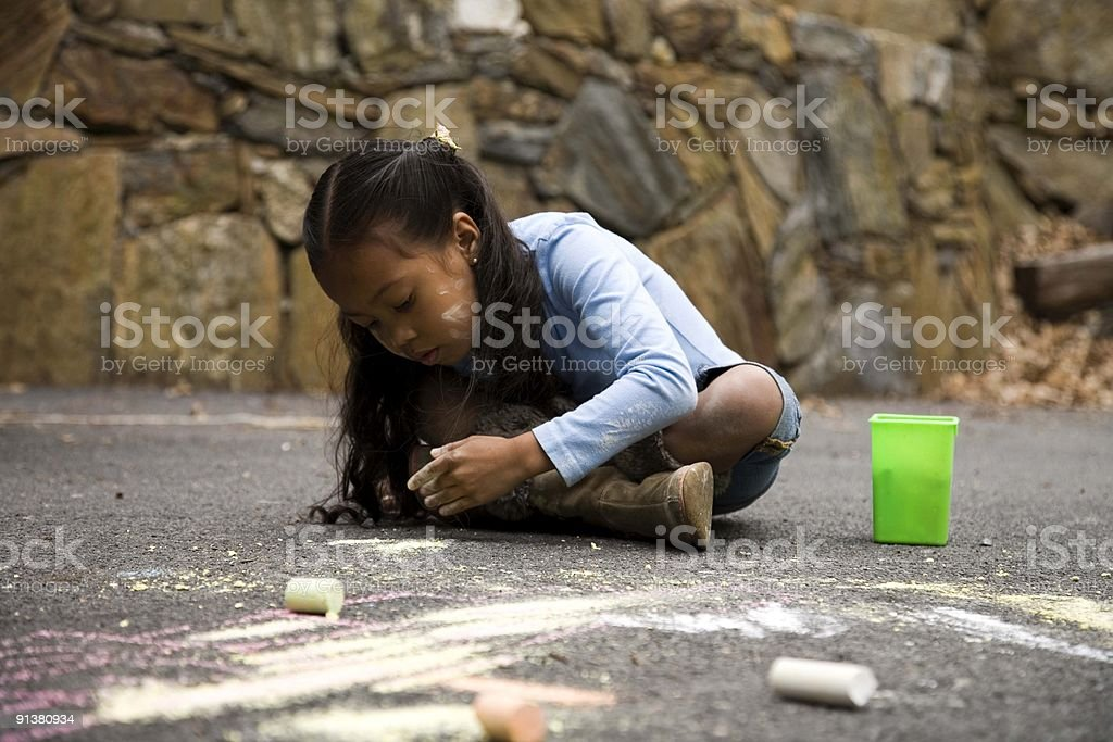Girl drawing on ground with chalk. vector art illustration