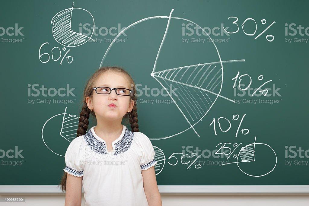 girl drawing pie chart on school board stock photo