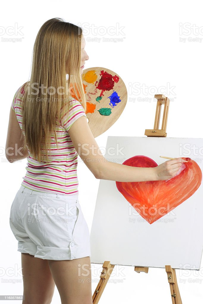 girl draws heart royalty-free stock photo