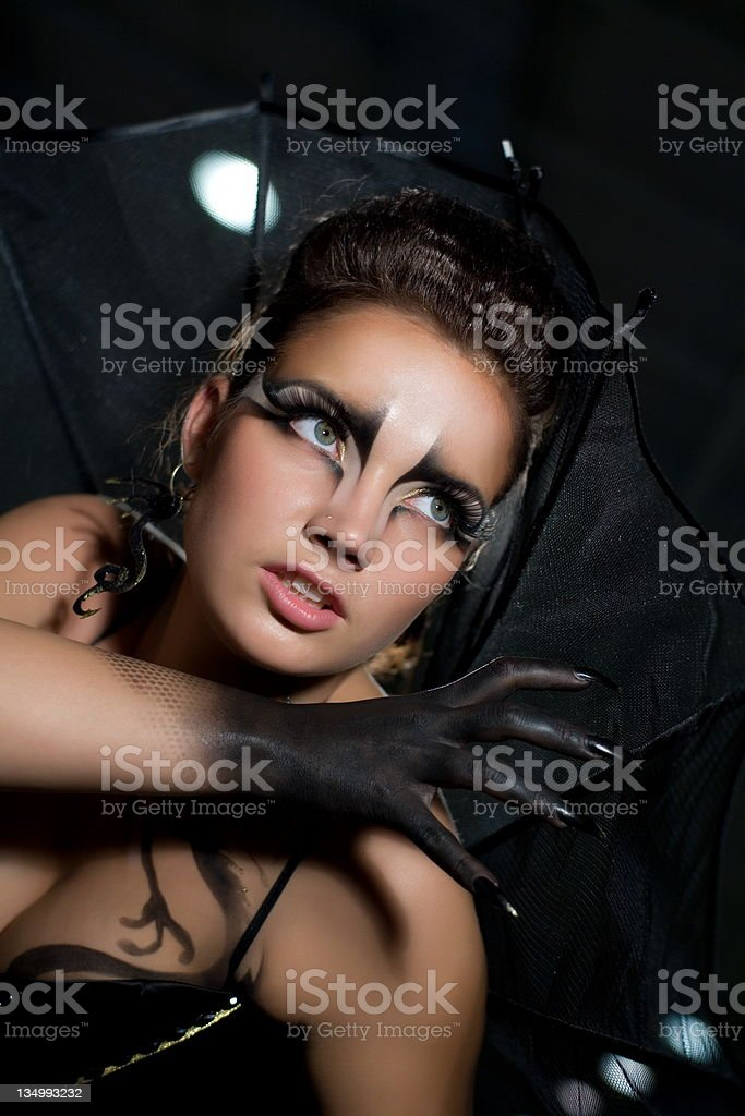 girl dressed as a bat stock photo