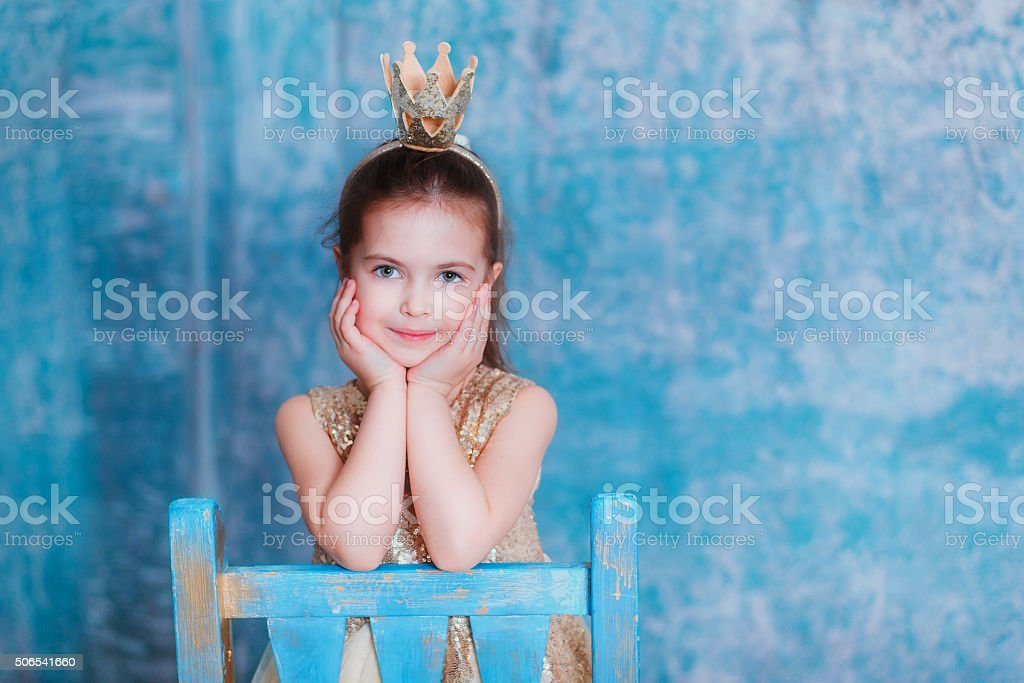 Girl dressed as princess stock photo