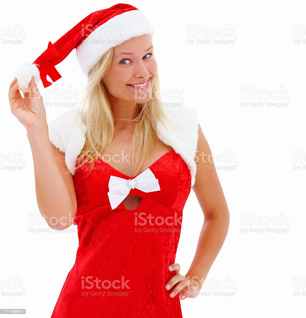 Girl dressed as Santa isolated on white royalty-free stock photo
