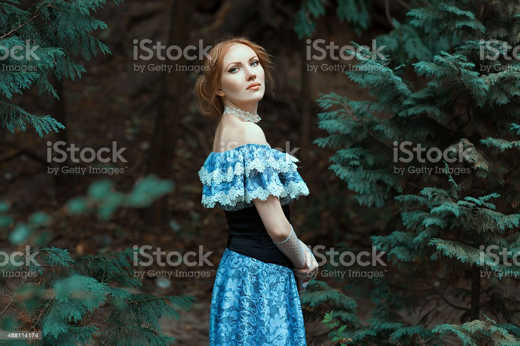 Girl dressed in an old-fashioned blue dress. stock photo