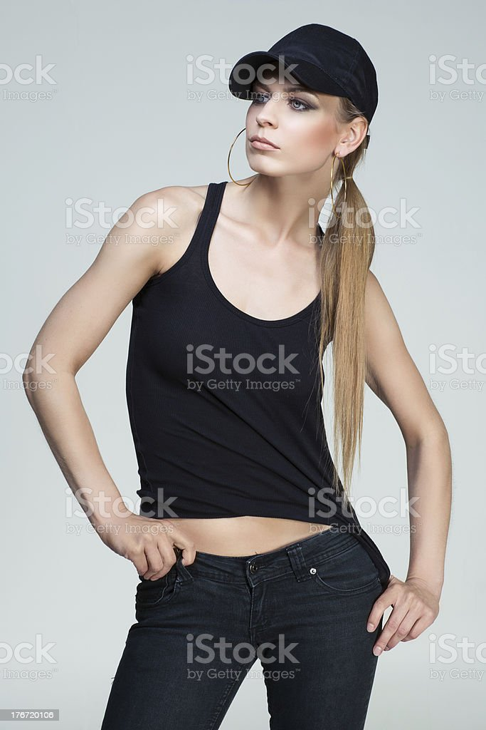 Girl dressed in hip-hop style royalty-free stock photo