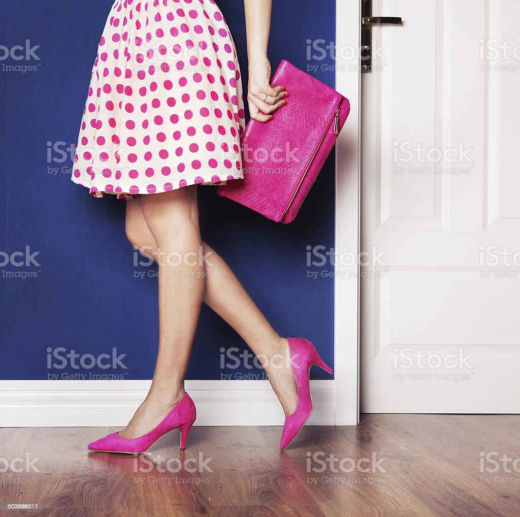 girl dressed in pink stock photo