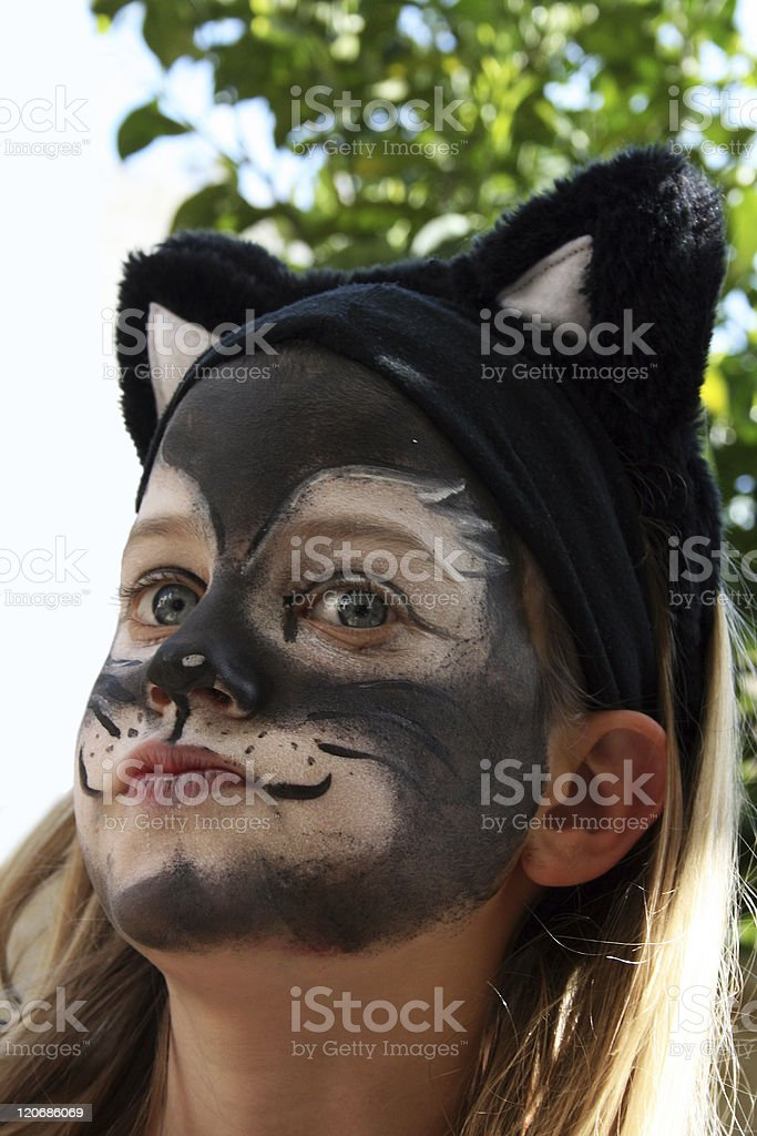 girl dressed up as a cat royalty-free stock photo