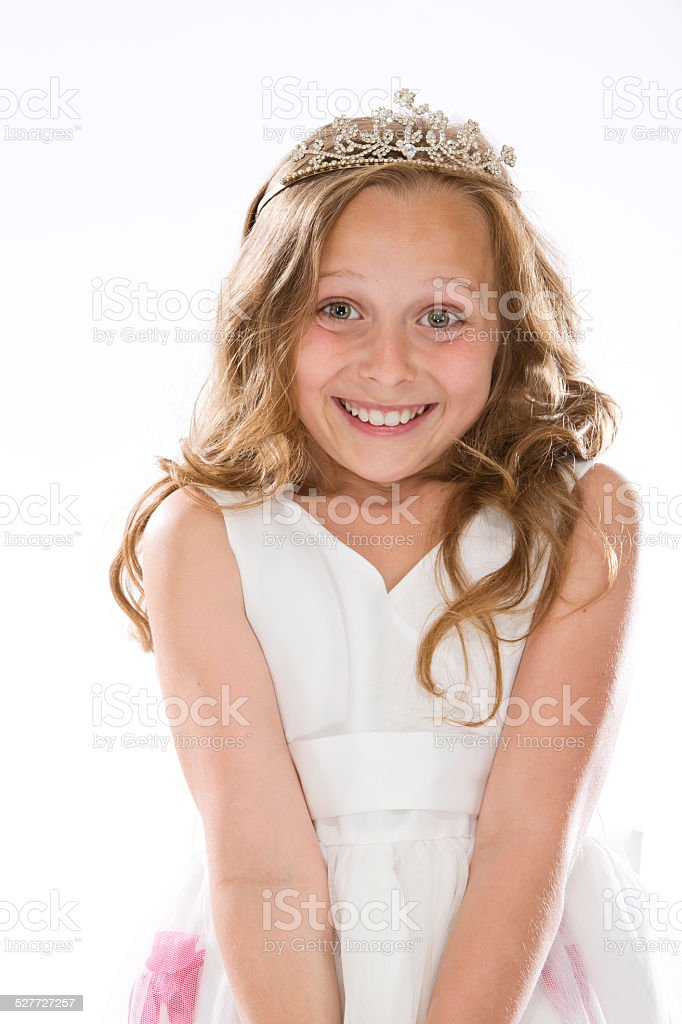Girl dressed up as little princess stock photo