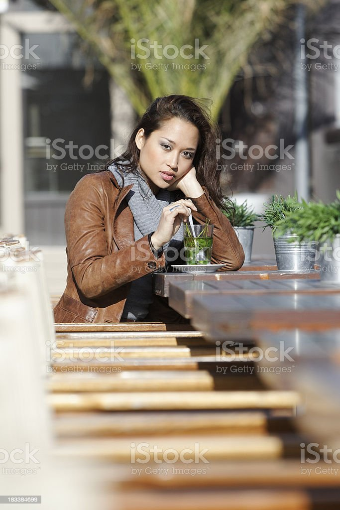 girl drinking mint tea royalty-free stock photo