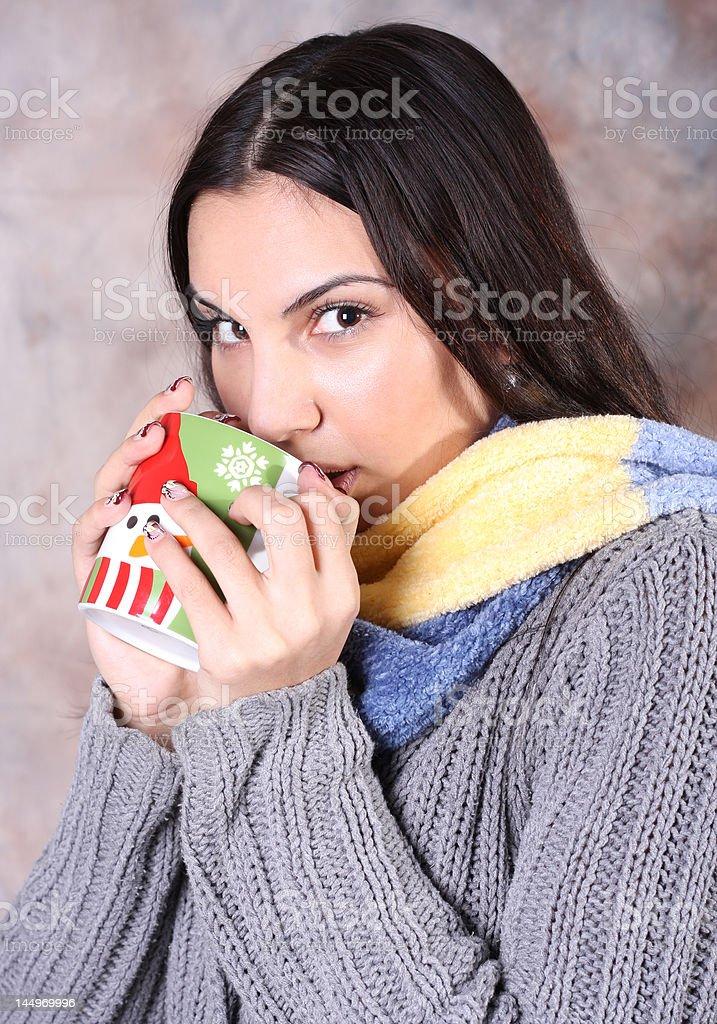 Girl drinking royalty-free stock photo
