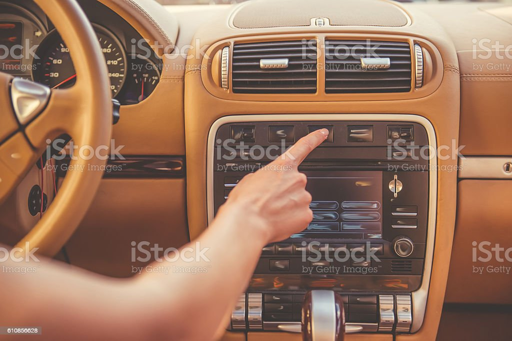 Girl driving the car stock photo