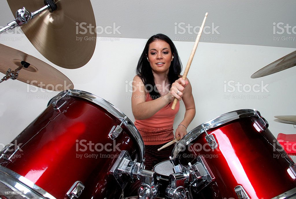 Girl Drummers Rock stock photo