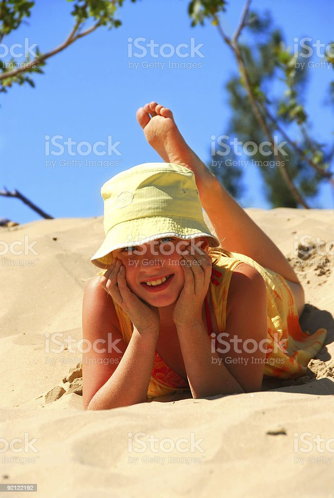 Girl dunes royalty-free stock photo