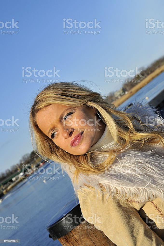 Girl During Late Fall on Mass. Coast royalty-free stock photo