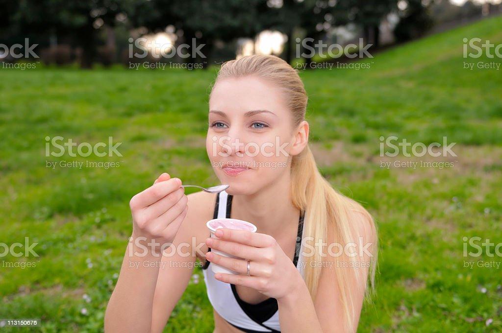 Girl Eat Yogurt stock photo