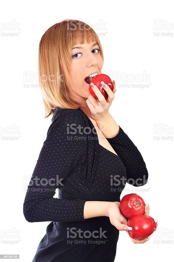 Girl eating apple royalty-free stock photo