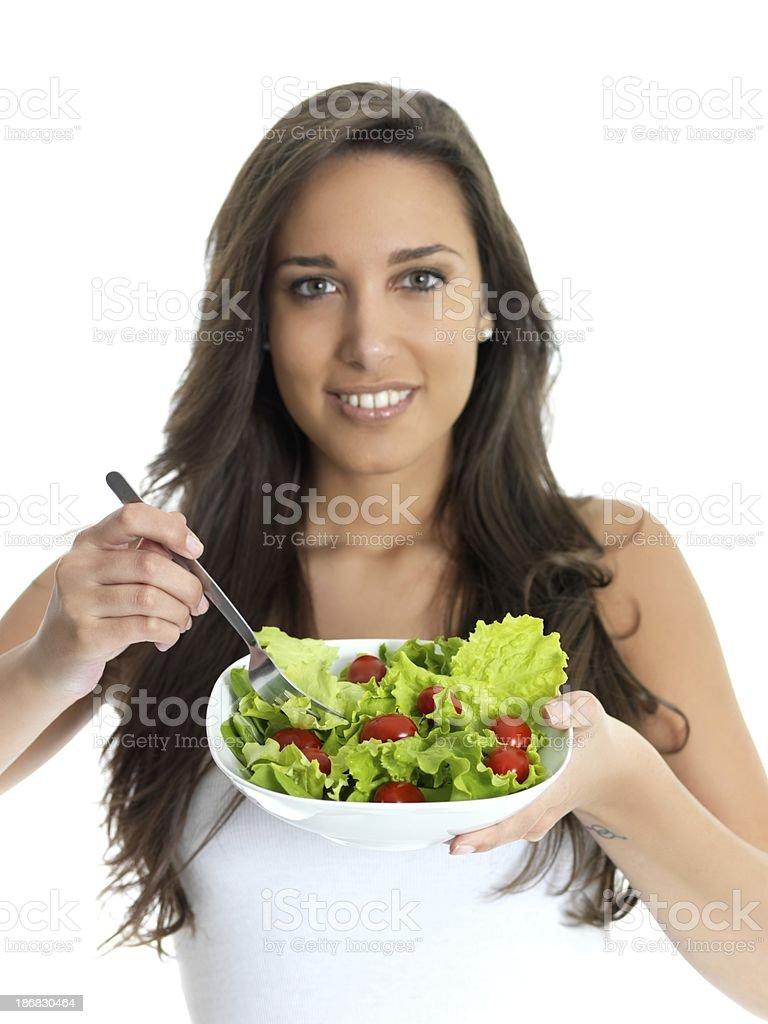 girl eating salad royalty-free stock photo