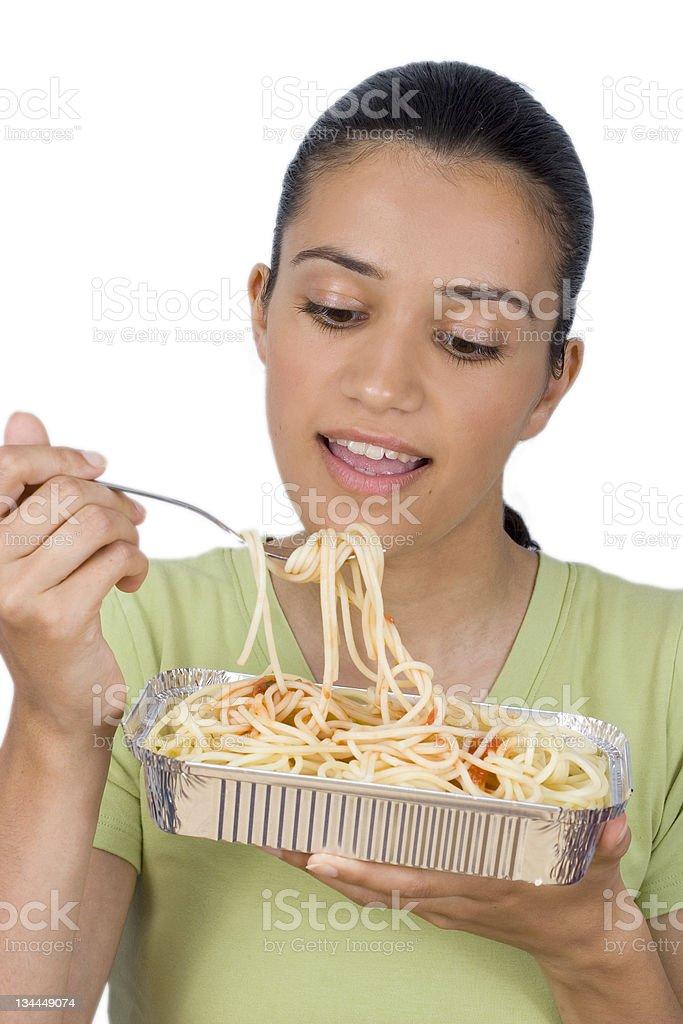 girl eating spaghetti royalty-free stock photo