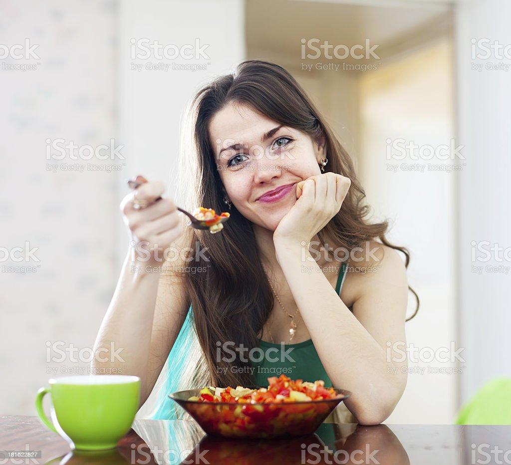 girl eating vegetarian lunch royalty-free stock photo