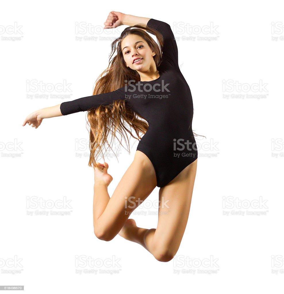 Girl engaged art gymnastic stock photo