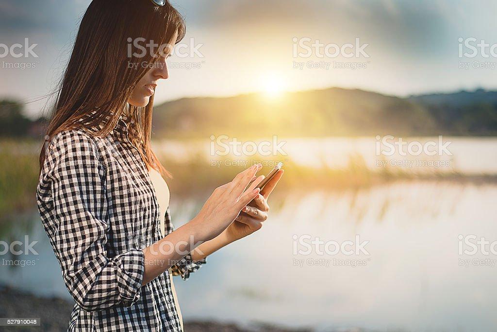 Girl enjoy on coast stock photo