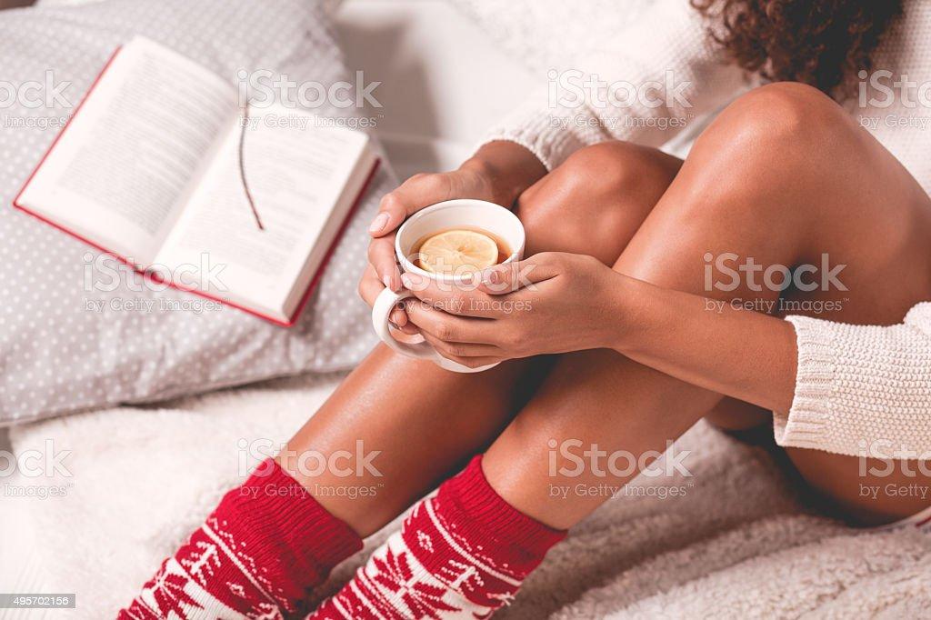 Girl enjoying a winter time stock photo