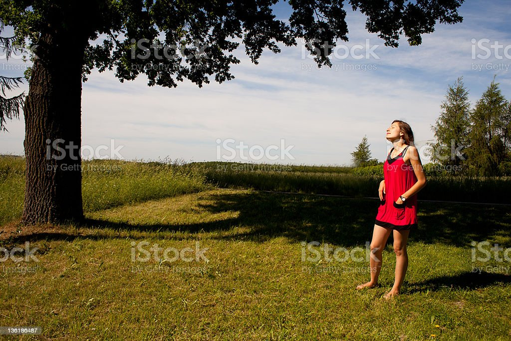 Girl enjoying beatiful day royalty-free stock photo