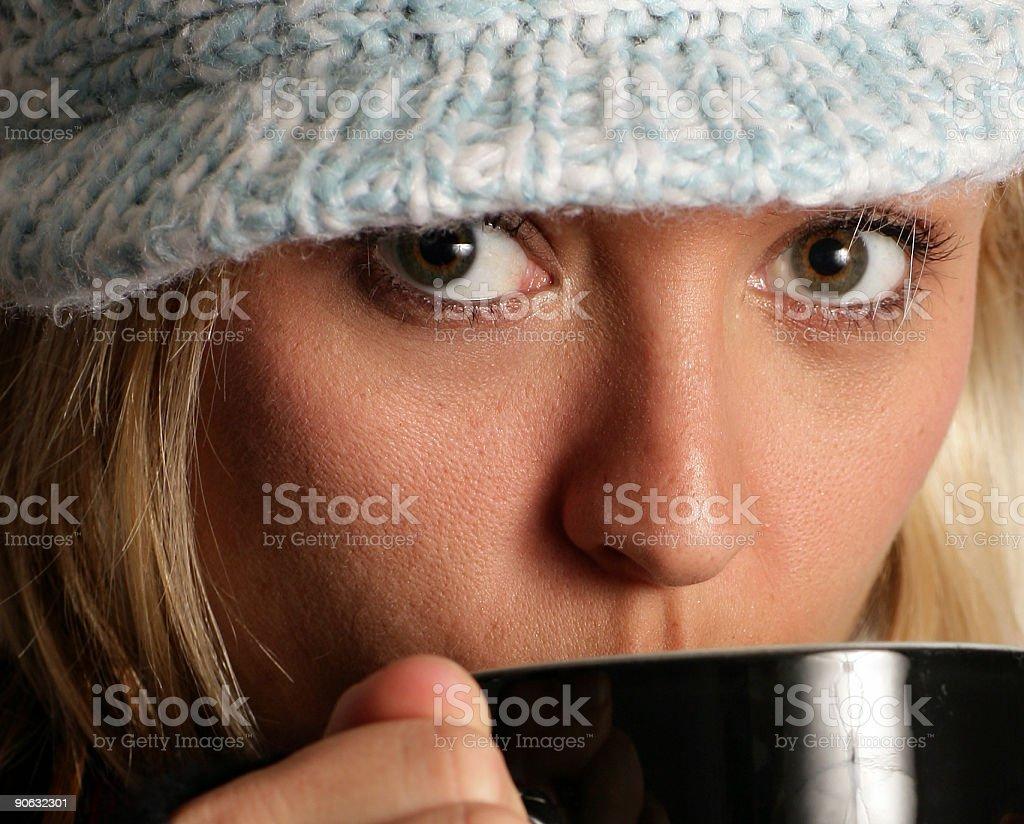 Girl enjoying coffee or tea royalty-free stock photo