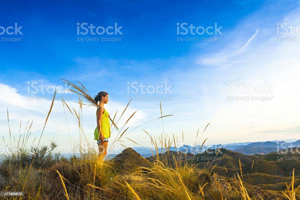 Girl enjoying the views stock photo
