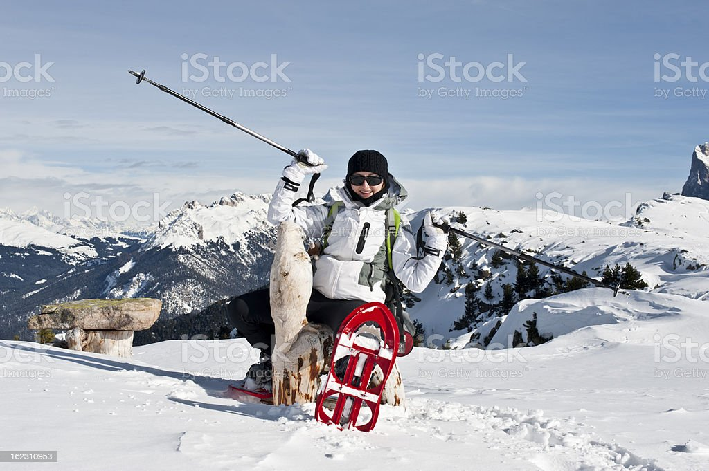 Girl enjoys her Winter Holidays in the Dolomites royalty-free stock photo