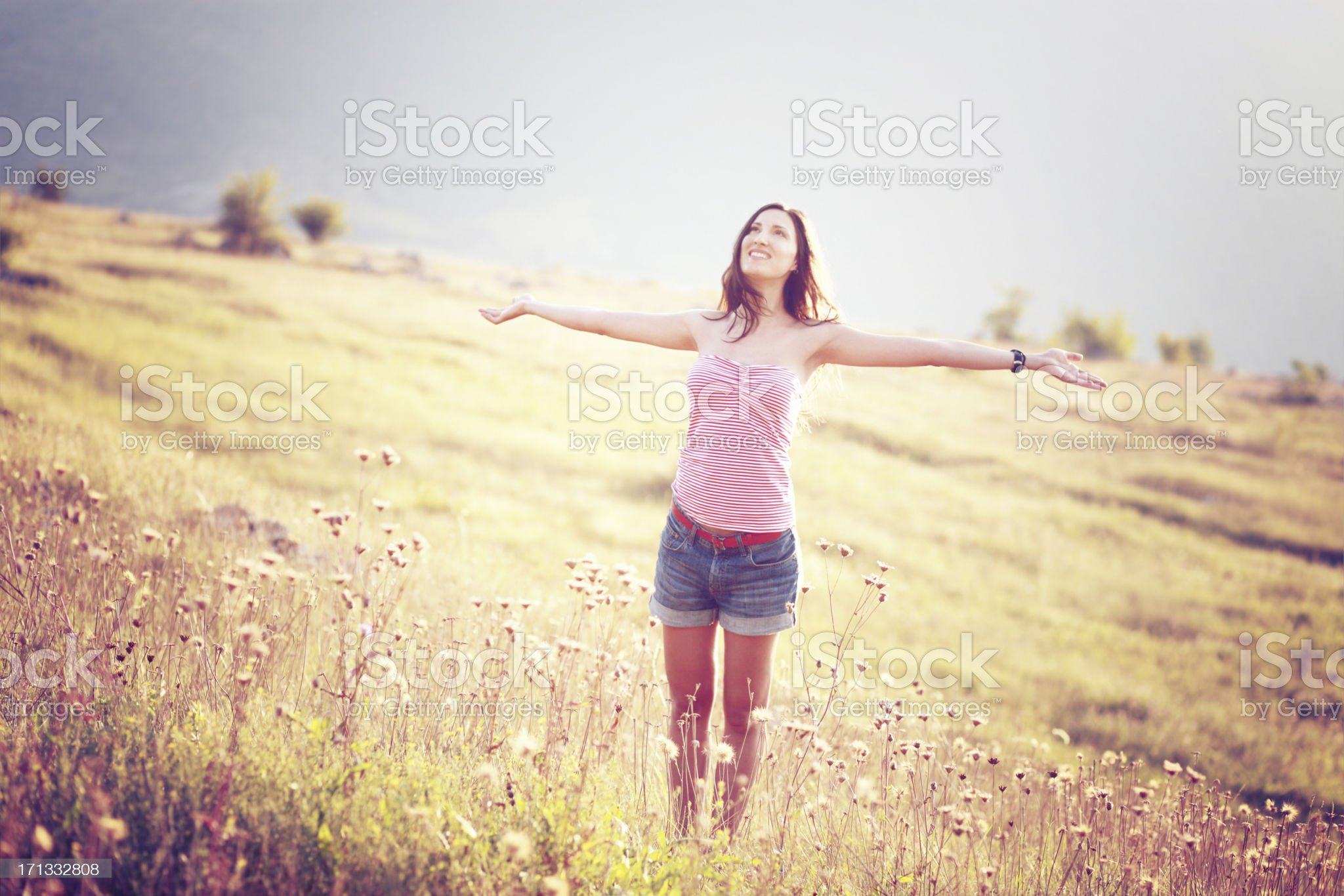 Girl enjoys nature in autumn royalty-free stock photo