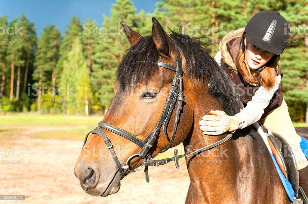 Girl equestrian riding horseback and stroking horse neck. Summertime outdoors stock photo