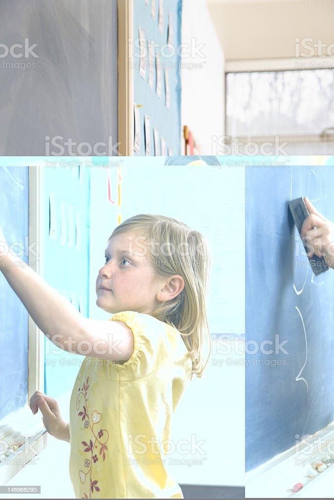 Girl Erasing Writing on Blackboard royalty-free stock photo