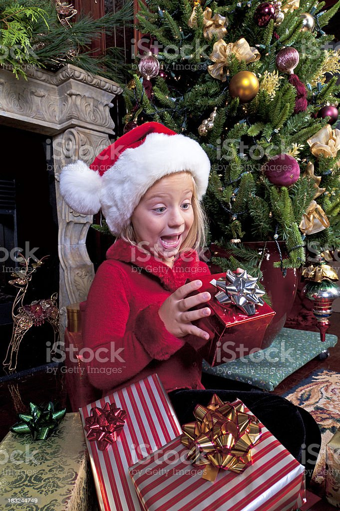 Girl Excited at Christmas royalty-free stock photo