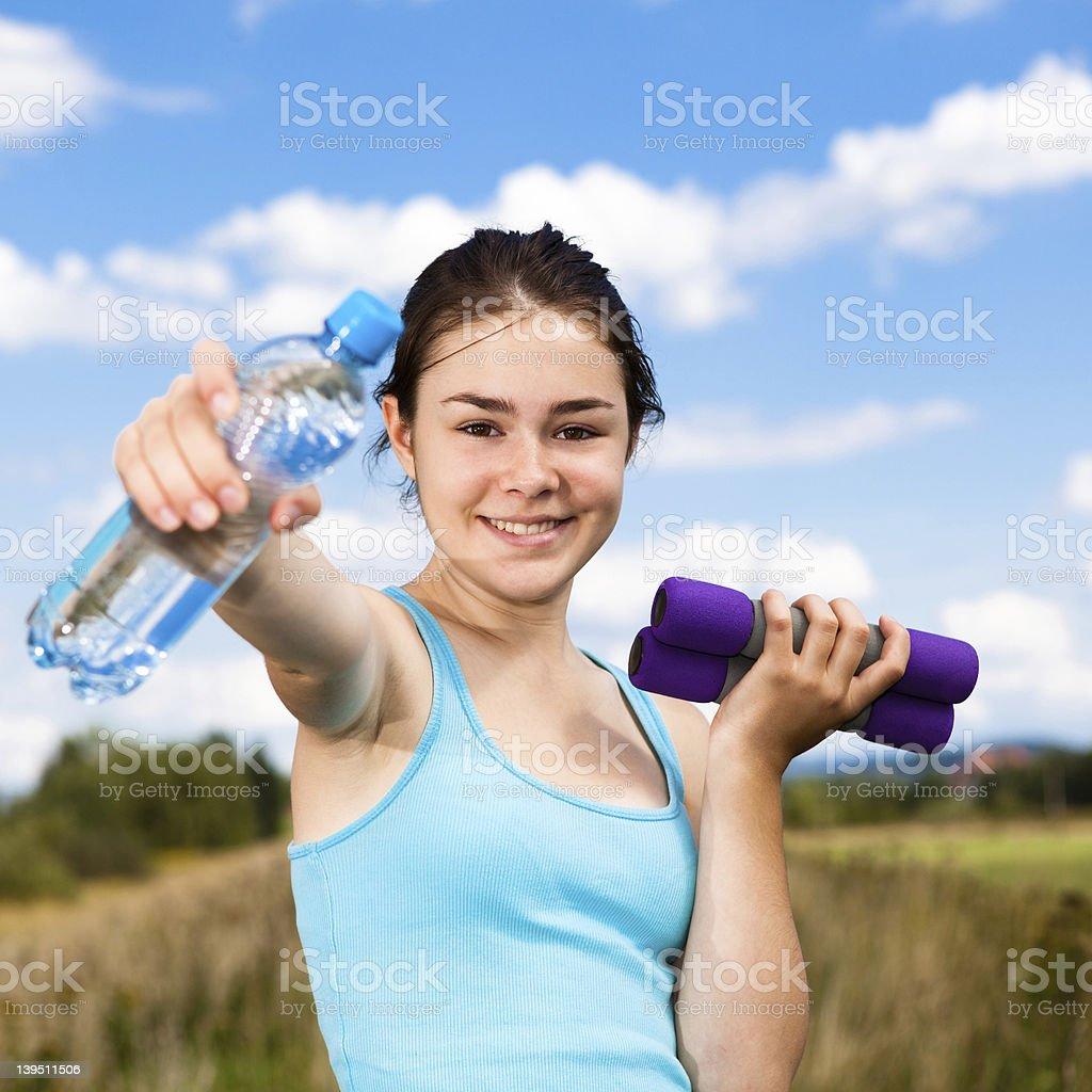 Girl exercising royalty-free stock photo