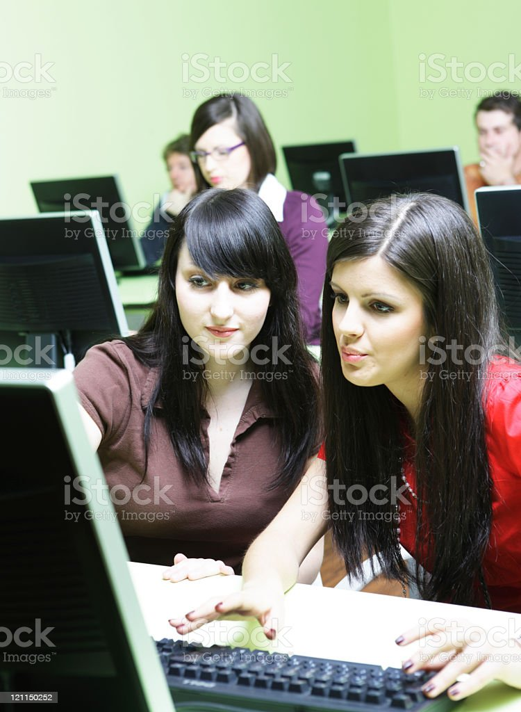 Girl explains the computer royalty-free stock photo