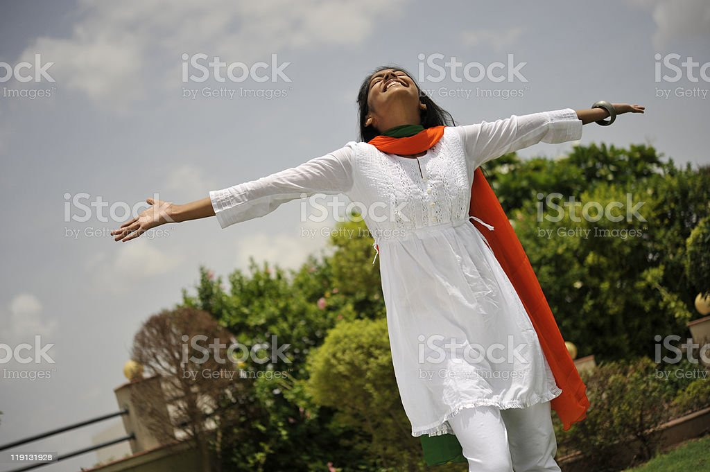 girl expressing freedom stock photo