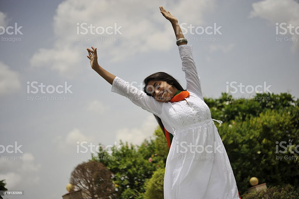 girl expressing freedom stock photo